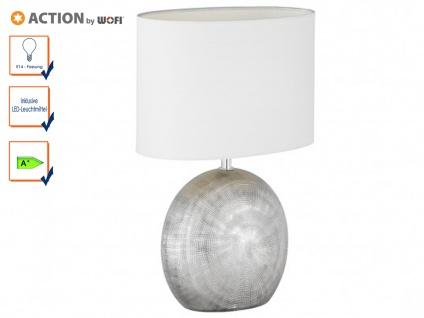 Tischleuchte LEGEND mit LED, H. 37cm, silber/weiß, Keramik & Stoff, Tischlampen