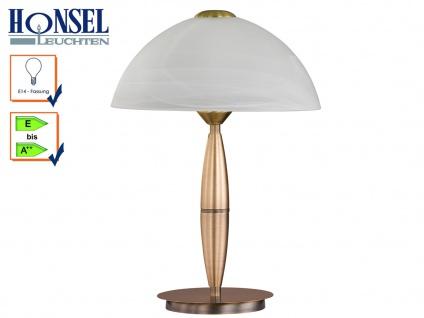 Klassische Tischleuchte Altmessing Glasschirm H. 36cm E14 Nachttischlampe Diele