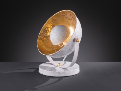 Retro Nachtischleuchte mit Lampenschirm schwenkbar Betonoptik/Gold E14-Fassung