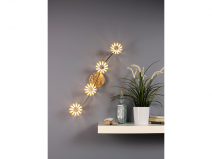 Vierflammige florentiner Blumen Motiv LED Deckenleuchte aus Metall in Blattgold - Vorschau 5