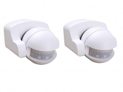 2er-SET Aufputz Bewegungsmelder weiß 8m/180°, Lux und Zeitintervall einstellbar - Vorschau 2