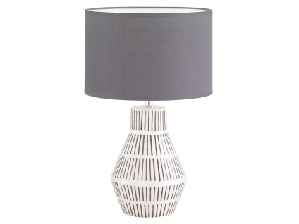 Tischleuchte weiß grau mit LED, Keramik mit Lampenschirm Stoff, Wohnzimmerlampe