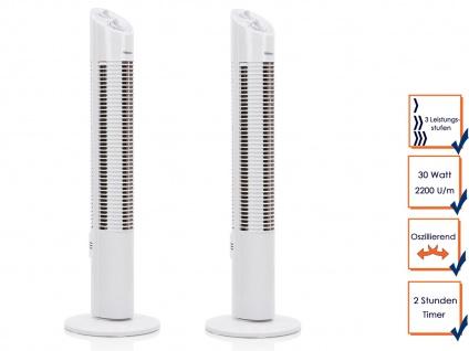 2x Turmventilator mit Timer Funktion oszillierend 3 Stufen 30W Säulenventilator