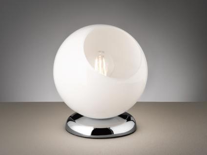 Moderne LED Tischleuchte rund aus Glas weiß Ø20cm, Höhe 22cm - Nachttischlampe