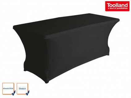 Hochwertige Stetchtischhusse schwarz 180 x 75cm, Tischhussen Bezug Gartentischen