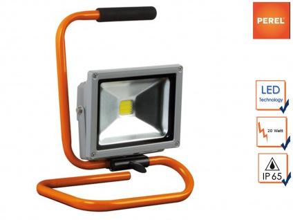 LED Baustrahler 20W kaltweiß, Sicherheitsglas, Fluter Arbeitsscheinwerfer IP65