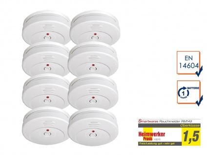 8er SET Smartwares Rauchwarnmelder TÜV zertifiziert - Brand Feuer Melder Alarm