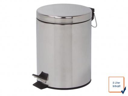 Perel Mülleimer 5 Liter Chrom, Treteimer Abfalleimer Abfallsammler Müllsammler