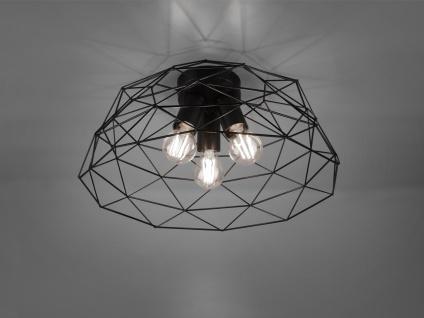 Retro LED Deckenleuchte 3 flammig Metall Gitter Schwarz matt Ø45cm Höhe 20cm