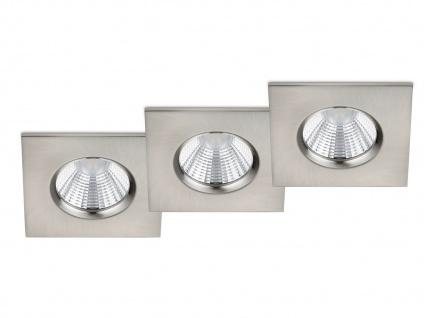 LED Einbaustrahler Decke 3er Set eckig dimmbar Nickel matt 5, 5W - Deckenleuchten