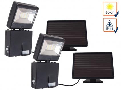 2er SET Solar LED Strahler mit 120° Bewegungsmelder, SAMSUNG LEDs, IP44