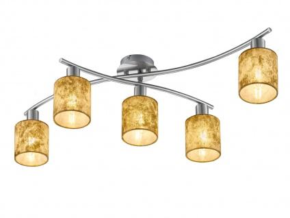 5 flammige Deckenleuchte GARDA schwenkbar mit Stoffschirmen gold, Deckenlampe