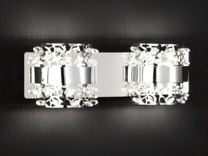 2-fl. LED Wandleuchte, Chorm mit Glassteinen Länge 33cm, Wandlampe Designerlampe - Vorschau 4