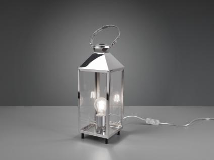 LED Tischleuchte Laterne Chrom Metall 13x13cm 46cm hoch für die Fensterbank