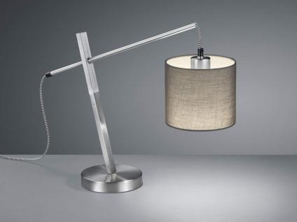 Schicke LED Tischleuchte mit Holz und Stofflampenschirm in Grau im Landhausstil