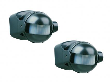 2er Pack Bewegungsmelder schwarz, 12m / 180° einstellbar Zeitintervall IP44