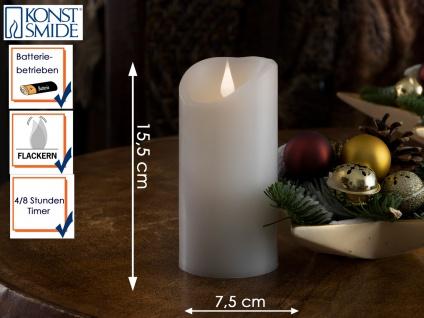 LED Echtwachskerze 3D Flamme & Timer Batteriebetrieb H. 15, 5 cm Stimmungslicht
