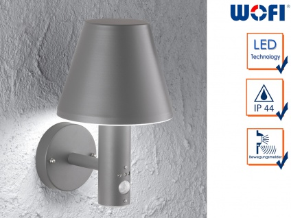 LED Außenwandlampe mit Bewegungssensor Aluminium IP44 Laterne Fassade Garten
