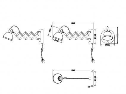 Retro Wandleuchte mit Scherengelenk und rundem Metall Lampenschirm in Chrom E14 - Vorschau 5