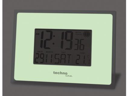 Funkuhr mit Alarm & Snooze, Thermometer, Smart Glow, silber-weiß - Vorschau 2