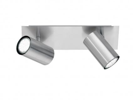 Schwenkbarer Deckenstrahler mit 2 LEDs für Wohnraum, Schlafzimmer & Büro, Silber