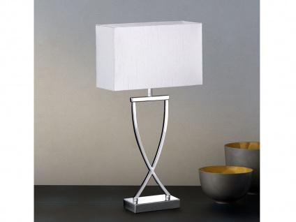 Große Tischleuchte Hockerlampe 51cm - Metall Chrom mit Lampenschirm Stoff Weiß