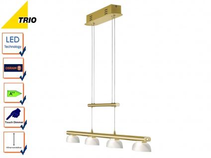 LED Pendelleuchte Hängelampe SENATOR Messing matt Glas weiß B. 90 cm