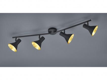 Deckenstrahler Retro Look aus Metall in Schwarz/ Gold 4 Spots dreh+schwenkbar