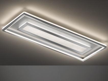 Flache LED Deckenleuchte Silber matt Chrom eckig 110x40cm groß mit Fernbedienung