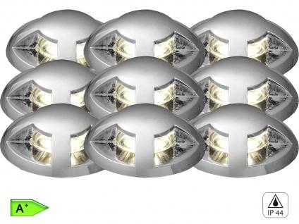 9tlg. Mini LED Bodeneinbauleuchten Spots Ø 3, 5cm, IP44, belastbar bis 150kg