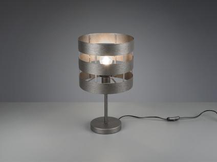 LED Tischlampe aus Metall Ø25cm Silber Antik Look 44cm hoch für die Fensterbank