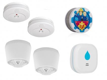 2-Raum-Wohnung Alarmset Rauch Hitze Wasser, Wärmemelder Feuerschutz Wasserwarner