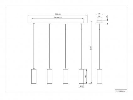 4 flammige Innenlampe, Silber mattes Pendel für Wohnraum, Esszimmer, mit 5W LEDs - Vorschau 5