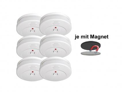 6er-SET Rauchmelder 5 Jahres Batterie TÜV geprüft + Magnetbefestigung Alarm - Vorschau 2