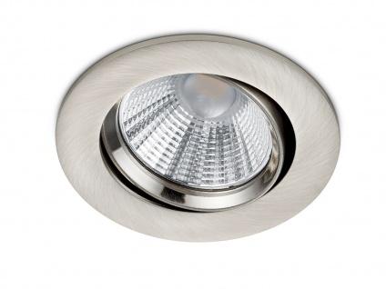 LED Einbaustrahler Decke rund Ø 8, 5 cm schwenkbar dimmbar Nickel matt 5, 5W Büro