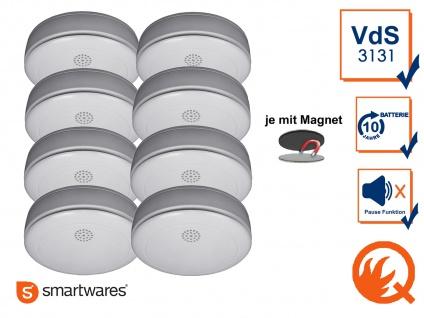 8er SET Rauchmelder 10 Jahres Batterie, VdS & Q-Siegel mit EASY Magnethalterung