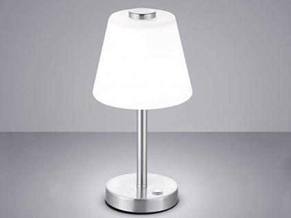 Elegante dimmbare LED Nachttischlampe TOUCH Nickel matt & Lampenschirm in weiss