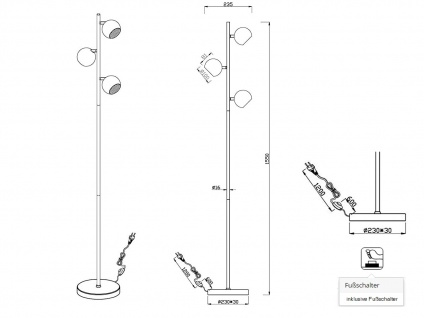 Designer Standlampe LED 155cm hoch, mit 3 Spots dreh+schwenkbar in schwarz matt - Vorschau 5