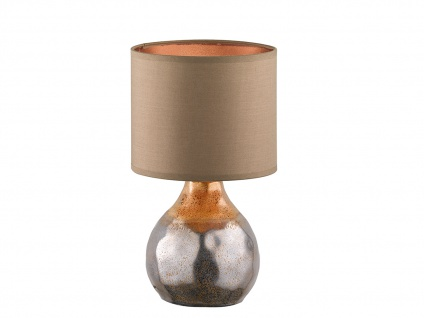Dekorative Keramik Tischleuchte braun 31cm mit LED, Design Lampenschirm Textil - Vorschau 2