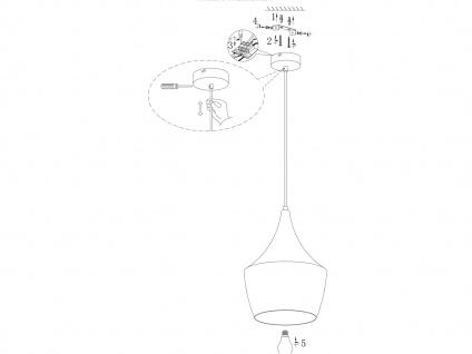 Design Retro Pendelleuchte mit Metall Schirm in Braun Ø 25cm E27 - Esstischlampe - Vorschau 5