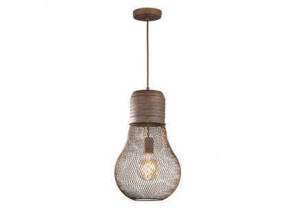 Vintage LED Pendelleuchte aus rostfarbenem Metall, Hängelampe im Industrielook