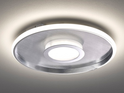 Große LED Deckenleuchte BUG rund Ø81cm mit Fernbedienung - Silber matt & Chrom - Vorschau 4