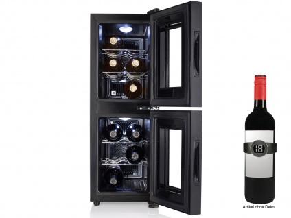 2 Zonen Weinkühlschrank schmal Weintemperierschrank Weinklimaschrank Winecooler