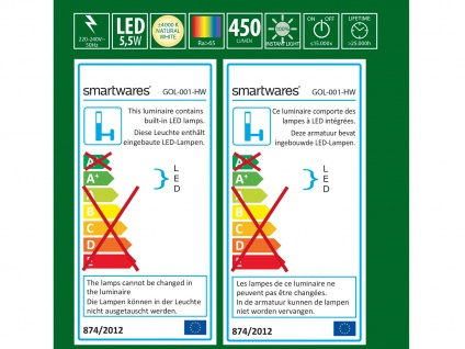 LED Wandleuchte Außenleuchte weiß, 450 Lumen, 4000 Kelvin, IP44 - Vorschau 4