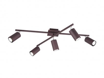 Schwenkbare Deckenspots aus Metall, 5 fl. Bürolampe, Wohnraumleuchte, rostfarbig