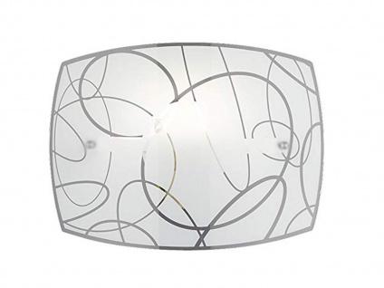 Schöne Wandlampe 30x22cm mit Glaslampenschirm in weiß mit Dekor-Kreisen E27