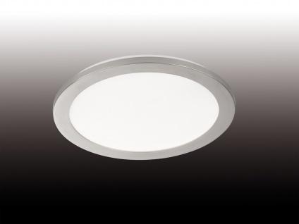 Dimmbare LED Deckenleuchte aus Acrylglas & Nickel - IP44 Badlampe, Ø 30cm, matt