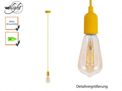 Schnurpendel Textil gelb Hängelampe E27 Filament LED, Pendelleuchte Vintage