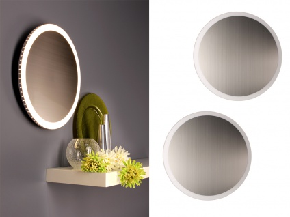 Angesagte LED Innenlampe für Wand und Decke mit Spiegel Design Silber rund 40cm