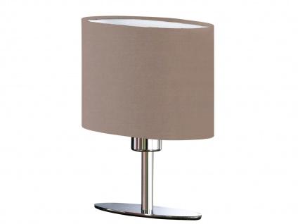 Designklassiker: Schöne LED Tischlampe Silber mit Lampenschirm oval Stoff Braun - Vorschau 2